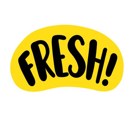 Mot frais. Signe d'étiquette de texte lumineux sur fond blanc. Création de logo graphique pour impression sur emballage de nourriture ou de boisson, pack de jus. Style de dessin animé d'illustration vectorielle. Couleur jaune et noire Logo