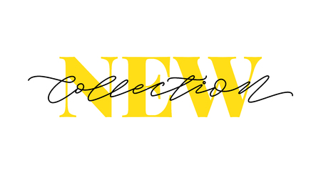 New collection yellow text on white background. Modern brush calligraphy. Vector illustration. Hand drawn lettering word. Design for social media, print lables, poster banner etc