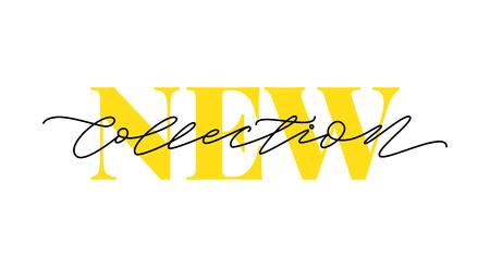 Nieuwe collectie gele tekst op witte achtergrond. Moderne penseelkalligrafie. Vector illustratie. Hand getrokken belettering woord. Ontwerp voor sociale media, printlabels, posterbanner enz