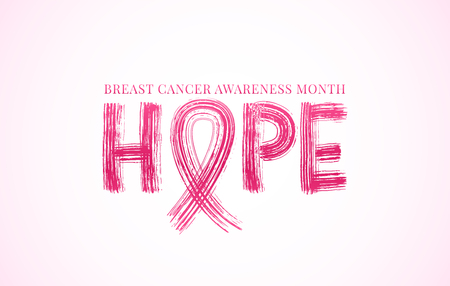 Hope word with pink ribbon symbol. Breast cancer awareness month. Vector illustration. Modern brush calligraphy. Text concept