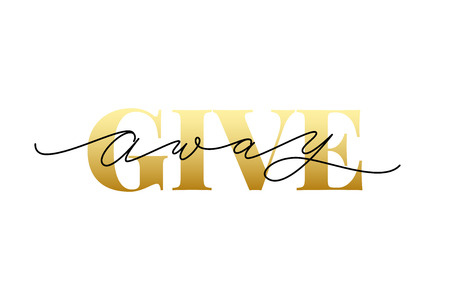 Giveaway text on white background. Vector illustration. Modern calligraphy. Serif and script. Hand drawn lettering word. banner for social media bloggers