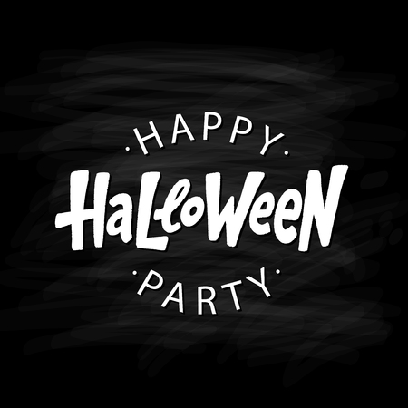 Happy Halloween party text logo. Design element for poster, banner, greeting card, party invitation. Vector illustration. White lettering on black background Illustration