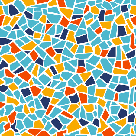Bright abstract mosaic seamless pattern. Vector background. For design and decorate backdrop. Endless texture. Ceramic tile fragments. Colorful broken tiles trencadis. Yellow blue red colors art Archivio Fotografico - 109924405