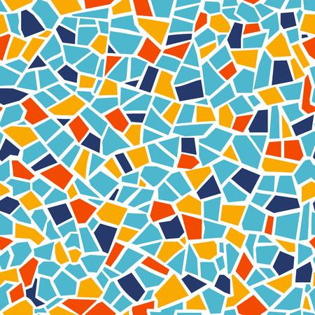 Patrón transparente de mosaico abstracto brillante. Fondo de vector. Para diseñar y decorar el telón de fondo. Textura sin fin. Fragmentos de baldosas cerámicas. Trencadís de coloridos azulejos rotos. Arte de colores rojo azul amarillo
