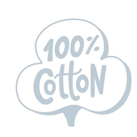 Logo in cotone 100%. Lettere disegnate a mano. Illustrazione di etichetta di testo grigio vettoriale. Stampa di design su confezione, confezione, etichetta di stoffa. grigio argento