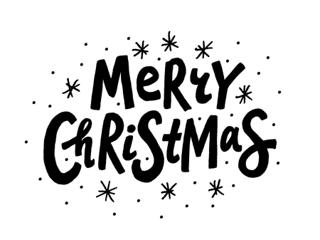 Merry Christmas text. Vector illustration. Unique xmas design element black isolated on white background. Design for print on congratulation cards, banner, poster, flyer or post in social media Illustration