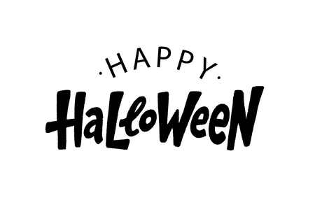 Happy Halloween text logo. Design element for poster, banner, greeting card, party invitation. Vector illustration. Black lettering on white background