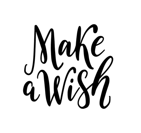 Make a wish. Text vector illustration. Design for print christmas or birthday greeting cards, poster, graphic tee, banner, sticker or for social media. Hand drawn lettering texture. winter season