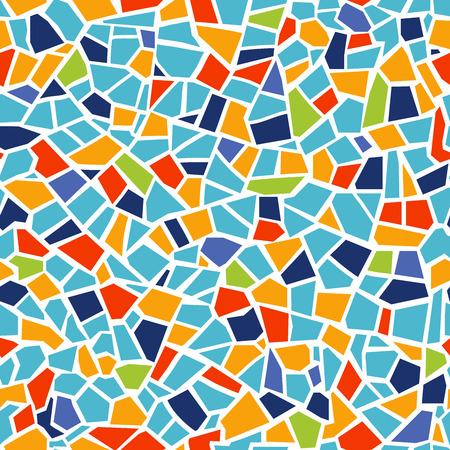 Helles abstraktes Mosaik nahtloses Muster. Vektorhintergrund. Zum Entwerfen und Dekorieren des Hintergrunds. Endlose Textur. Keramikfliesenfragmente. Bunte zerbrochene Fliesen Trencadis. Gelb blau rot färbt Kunst Vektorgrafik