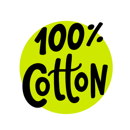 100 percent cotton logo. Hand drawn lettering on green circle. Vector text round label illustration. Design Print on pack, packaging, cloth tag.