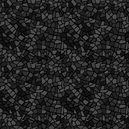 Abstract mosaic seamless pattern. Vector background. For design and decorate backdrop. Creative endless repeat texture. Ceramic tile fragments. Dark black art broken tiles trencadis.