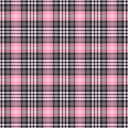 Pink tartan seamless vector patterns. Checkered plaid texture. Pink and gray. Geometrical simple square background for fabric textile cloth, clothing, shirts shorts dress blanket, wrapping design Vettoriali