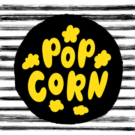 Popcorn text label with popping. Hand drawn typography sign. Black yellow and white logo. Vector illustration. Graphic Design for print on pack, packaging, tee t shirt, poster, banner, flyer card.