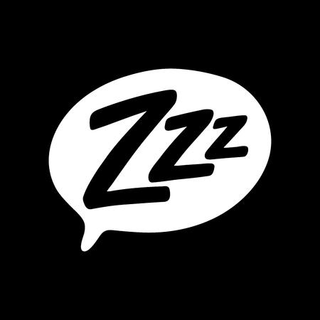 Texto de Zzz en la burbuja de texto. Camiseta gráfica imprimible. Diseño de doodle para imprimir. Ilustración vectorial. Etiqueta colorida. Estilo cómic dibujado a mano de dibujos animados. Icono de modo de reposo Ilustración de vector