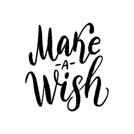 Pomyśl życzenie. Ilustracja wektorowa tekstu. Projekt do druku kartek bożonarodzeniowych lub urodzinowych, plakatów, koszulek z grafiką, banerów, naklejek lub do mediów społecznościowych. Ręcznie rysowane tekstury napis. sezon zimowy