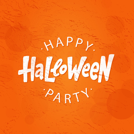 Happy Halloween party text logo. Design element for poster, banner, greeting card, party invitation. Vector illustration. White lettering on orange red background