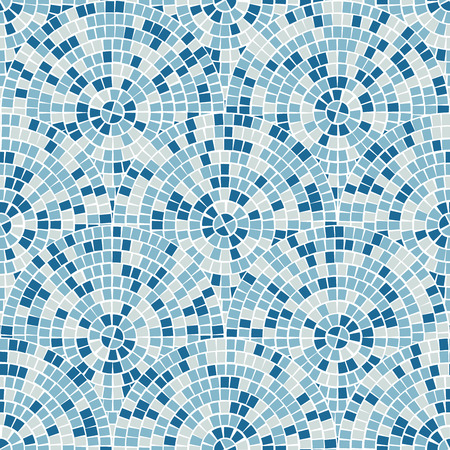 Bright abstract mosaic seamless pattern. Vector background. For design and decorate backdrop. Endless texture. Ceramic tile fragments. Colorful broken tiles trencadis. Blue colors art