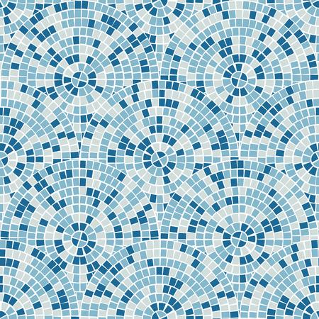Modello senza cuciture luminoso mosaico astratto. Sfondo vettoriale. Per il design e decorare lo sfondo. Texture infinita. Frammenti di piastrelle di ceramica. Colorate piastrelle rotte trencadis. Colori blu art