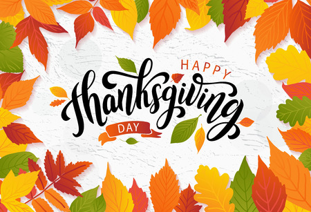 Happy thanksgiving day with autumn leaves. Hand drawn text lettering. Vector illustration. Script. Calligraphic design for print greetings card, shirt, banner, poster. Colorful fall frame Çizim