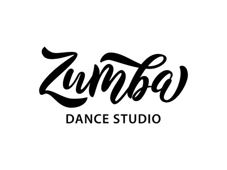 Zumba dance studio text. Calligraphy word banner design. Aerobic fitness. Vector hand lettering Illustration on white background.