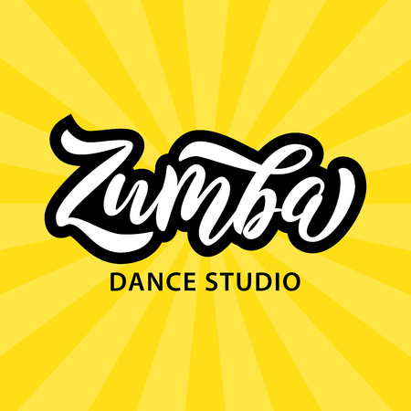 Zumba dance studio text. Calligraphy word banner design. Aerobic fitness. Vector hand lettering Illustration on yellow background.