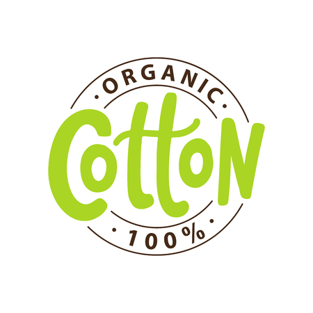 Logo 100% coton biologique. Lettrage dessiné à la main vert. Illustration d'étiquette de texte vectoriel. Conception Impression sur emballage, emballage, étiquette en tissu. Logo