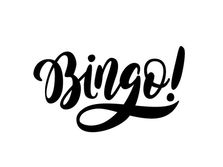 Bingo word. Black text on white background. Graphic logo design for print poster, card, game, lottery win concept casino banner Vector illustration