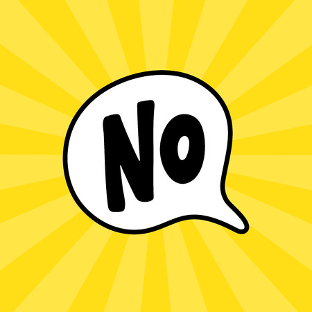 No word text on talk shape. Vector illustration speech bubble on white background. Design element for badge, sticker, mark, symbol, icon and card chat. Yellow background