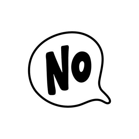 No hay texto de palabra en forma de conversación. Bocadillo de diálogo de ilustración vectorial sobre fondo blanco. Elemento de diseño para insignia, pegatina, marca, símbolo, icono y chat de tarjeta. Logos