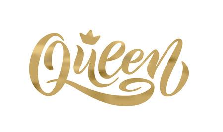 Słowo królowej z koroną. kaligrafia zabawny projekt do nadruku na koszulce, koszuli, bluzie z kapturem, naklejce banerowej plakatu, karcie. Ilustracja wektorowa tekstu napis ręką Ilustracje wektorowe