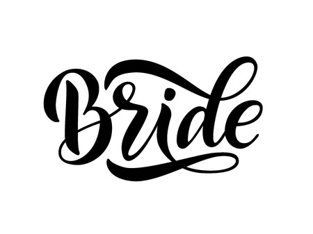 Bride team word calligraphy fun design to print on tee, shirt, hoody, poster banner sticker, card. Hand lettering text vector illustration for bachelorette party, hen party bridal shower 免版税图像 - 109976044