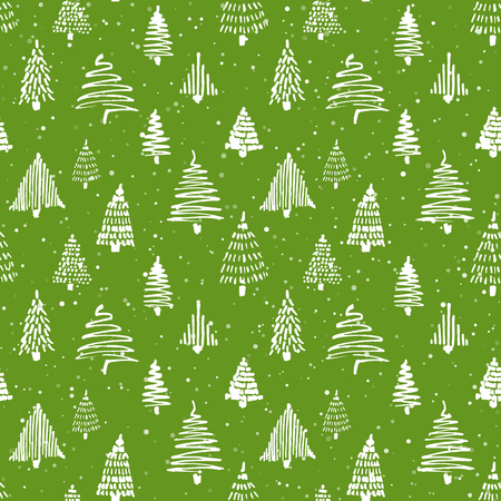 Christmass tree seamless pattern. Vector illustration. Green and white. Hand drawn doodle sketch drawing with ink. Design for wrapping gift paper and backgrounds. Winter holiday season Illustration