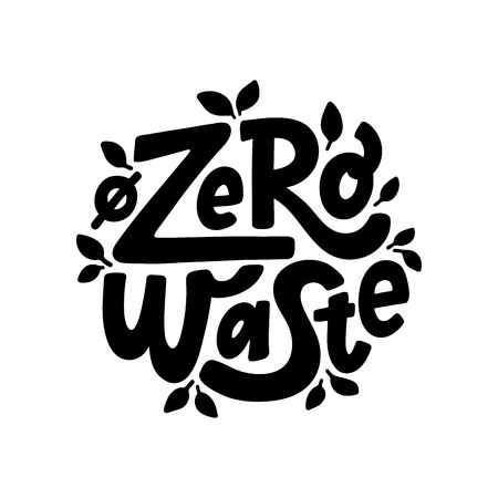 Zero waste text hand lettering sign. Ecology concept, recycle, reuse, reduce vegan lifestyle. Vector handwritten illustration. Design to print on bag  イラスト・ベクター素材