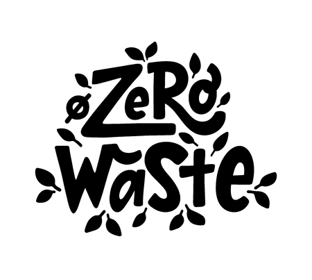 Zero waste text hand lettering sign. Ecology concept, recycle, reuse, reduce vegan lifestyle. Vector handwritten illustration. Design to print on bag Vettoriali