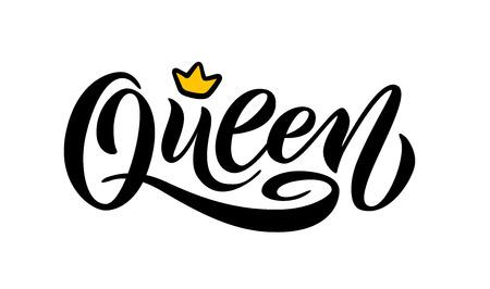 Reina palabra con corona. diseño divertido de caligrafía para imprimir en camiseta, camiseta, sudadera con capucha, pegatina de cartel, tarjeta. Ilustración de vector de texto de letras de mano