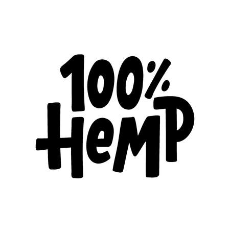 Hemp 100 text label. Cannabis word. Design element. Hand drawn lettering marijuana symbol comic cartoon style for print. Black sign Isolated on white background