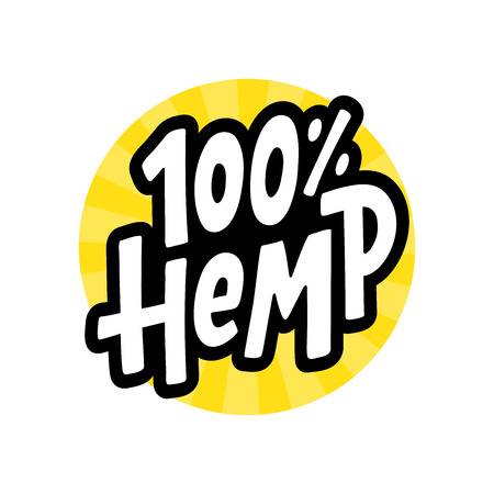 Hemp 100 text label. Cannabis word. Design element. Hand drawn lettering marijuana symbol comic cartoon style for print. Yellow round circle sign