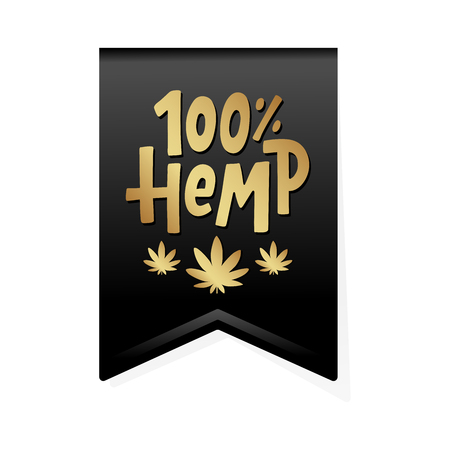 Hemp 100 text label. Cannabis word. Design element. Hand drawn lettering marijuana symbol comic cartoon style for print. Black ribbon sign Isolated on white background