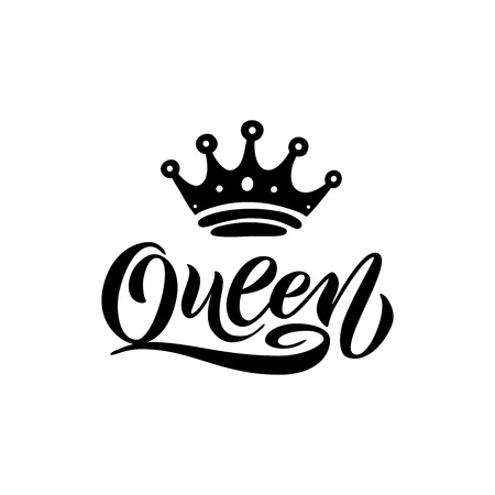 Queen word with crown. calligraphy fun design to print on tee, shirt, hoody, poster banner sticker, card.  lettering  vector illustration