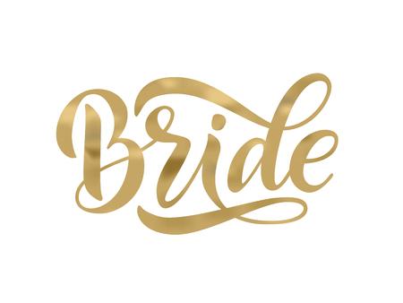 Gold-Kalligraphie-Spaßentwurf der Brautmannschaft, um auf T-Stück, Hemd, Kapuze, Plakat-Banneraufkleber, Karte zu drucken. Handbeschriftungstextvektorillustration für Junggesellenabschied, Junggesellinnenabschied Brautdusche Vektorgrafik