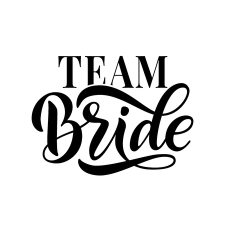 Diseño divertido de la caligrafía de la palabra del equipo de la novia para imprimir en camiseta, camiseta, sudadera con capucha, pegatina de cartel, tarjeta. Ilustración de vector de texto de letras a mano para despedida de soltera, despedida de soltera despedida de soltera