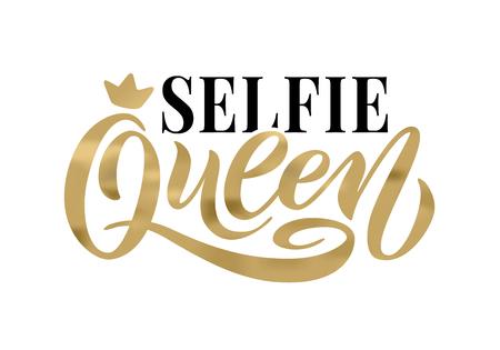 Palabra Selfie Queen con corona. diseño divertido de caligrafía para imprimir en camiseta, camiseta, sudadera con capucha, pegatina de cartel, tarjeta. Mano deletreado texto dorado ilustración vectorial sobre fondo blanco. Ilustración de vector