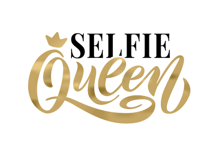 Selfie Queen word with crown. calligraphy fun design to print on tee, shirt, hoody, poster banner sticker, card. Hand lettering golden text vector illustration on white background 스톡 콘텐츠 - 111450654