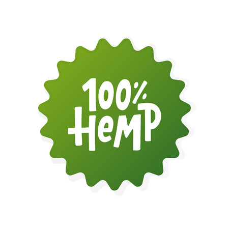 Hemp 100 text label. Cannabis word. Design element. Hand drawn lettering marijuana symbol comic cartoon style for print. Green round sign Isolated on white background