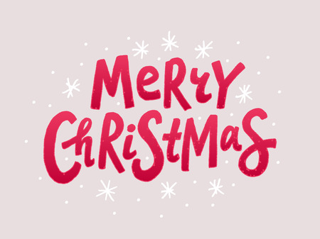 Merry Christmas colorful text. Vector illustration. Cartoon xmas design element red isolated on light color background. Design for print on congratulation cards, banner, poster, flyer post in media Illustration
