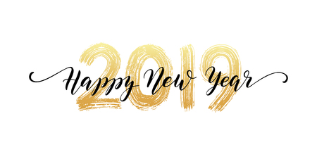 2019 Happy New Year script text hand lettering. Design template Celebration typography poster, banner or greeting card for Merry Christmas and happy new year. Vector Illustration Ilustração