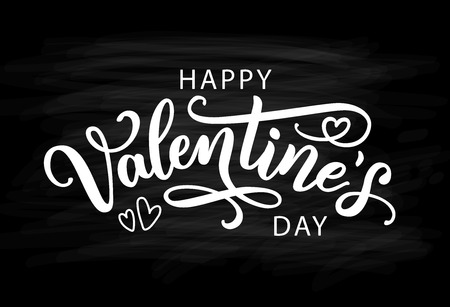 Happy Valentines Day with hearts shape greeting card. Vector illustration isolated on black background. Hand drawn text lettering for Valentines Day. Calligraphic design for print cards, banner poster