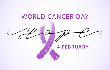 World cancer day 4 february text. Hope word with violet ribbon symbol. Vector illustration concept for world cancer day. Typography design for poster banner and post on social media.