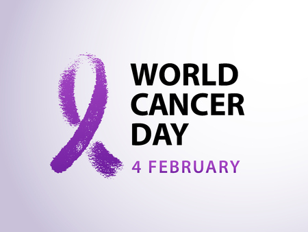 World cancer day 4 february text with violet ribbon symbol. Vector illustration concept for world cancer day. Typography design for poster banner and post on social media. Vettoriali