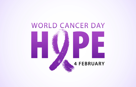 World cancer day 4 february text. Typography design for poster banner and post on social media. Hope word with violet ribbon symbol. Vector illustration concept for world cancer day. Ilustração